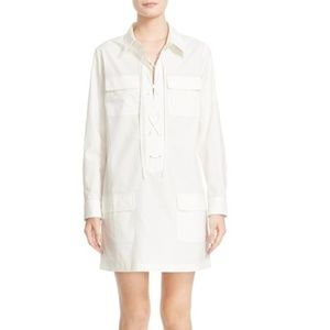 Equipment Knox White Lace Up Cotton Shirtdress